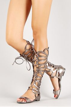 1a62e7f7533 Breckelle Metallic Lace Up Gladiator Flat Sandal