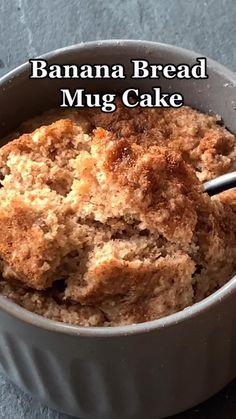 Mug Recipes, Sweet Recipes, Baking Recipes, Snack Recipes, Homemade Desserts, Healthy Desserts, Dairy Free Recipes, Vegan Recipes, Banana Bread Mug