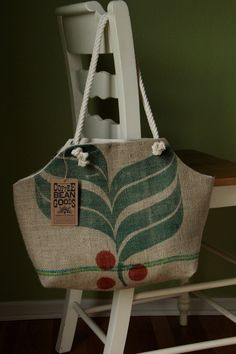 Recycled Burlap Coffee Sack Market Tote- Brazil Leaf Print. $40.00, via Etsy.