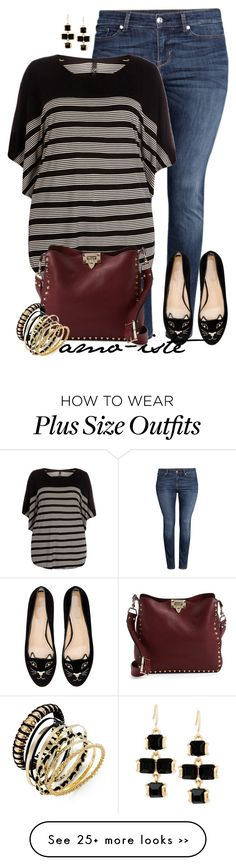 """Stripes - Plus Size"" by amo-iste on Polyvore featuring H&M, Evans, Valentino, Charlotte Olympia, Thalia Sodi and Kenneth Cole"