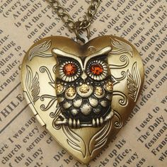 Steampunk Gold Owl Heart Locket Necklace Vintage Style