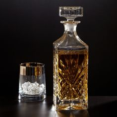 Hand-curated guide to cool scotch and whiskey decanters for showcasing your liquors in style. Perfect for whisky, scotch, & bourbon, a personalized whiskey decanter engraved with the phrase of your choice makes an excellent gift idea. Liquor Bottles, Glass Bottles, Perfume Bottles, Crystal Decanter, Crystal Glassware, Whiskey Decanter, Scotch Whiskey, Cut Glass, Carafe