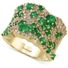 Shop for Emerald ct.) and Diamond ct.) Wide Cluster Ring in Gold by Effy at ShopStyle. Now for Sold Out. Wide Band Diamond Rings, Green Diamond Rings, Green Emerald Ring, Diamond Cluster Ring, Emerald Diamond, Yellow Gold Rings, Gold Gold, 14k Gold Jewelry, Emerald Jewelry