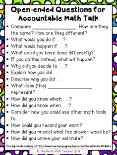 Open Ended Questions for Accountable Math TalkYou can find Math talk and more on our website.Open Ended Questions for Accountable Math Talk Math Teacher, Math Classroom, Teaching Math, Kindergarten Math, Math Literacy, Math Education, Classroom Ideas, Writing In Math, Teaching Tools