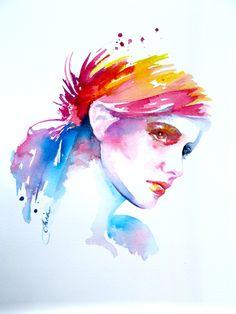 Abstract Fashion Original Illustration -  Colorful Watercolor Portrait -