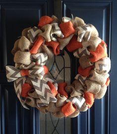 Burlap chevron wreath by GunnyandGrove on Etsy