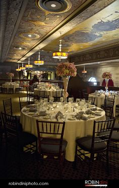 Reception, gold ceiling, historic venue, round tables, wedding, Reception table, historic venue, Hartford Society Room, Hartford, Connecticut
