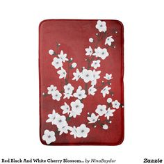 Red Black And White Cherry Blossom Sakura Bath Mat