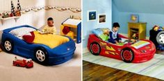 Cool children car beds for toddler boy bedroom design ideas: contemporary twin car bed for boy bedroom decorating ideas