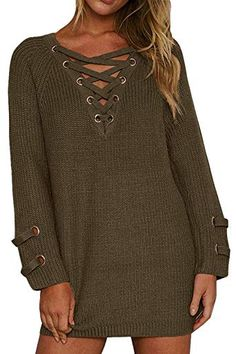 324deaf13 Chic BOBIBI Women's Lace up Front V Neck Long Sleeve Knit Pullover Sweater  Mini Dress Top online. [$24.99] allnewtrendy from top store