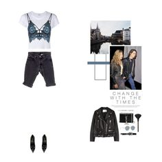 """""""Cold Blue"""" by nudenim ❤ liked on Polyvore featuring RE/DONE, For Love & Lemons, Levi's, Yves Saint Laurent, Acne Studios, Kevyn Aucoin and Gentle Monster"""