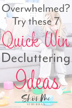 Clutter can be overwhelming. These 7 decluttering quick wins helped me overcome the stress of all the clutter. The simple tips made me feel less overwhelmed. These fast decluttering projects are perfect for a working woman or for moms! How To Organize Your Closet, Declutter Your Home, Organizing Your Home, Kids Room Organization, Organization Hacks, Organization Ideas, Organized Bedroom, Organized Kitchen, Bathroom Cleaning Hacks