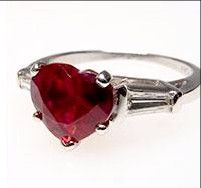 A 1CT Heart Shaped Red Ruby Promise Engagement Ring