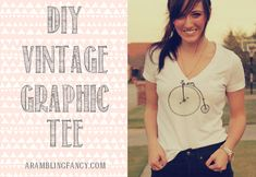 DIY graphic tee, transfer fun vintage prints to a plan t-shirt