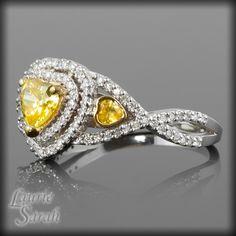 yellow sapphire engagement rings | Heart Yellow Sapphire and Diamond Engagement Ring with twisted shank ...