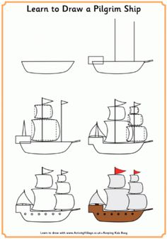 Fun printable learn to draw tutorials for kids with a Thanksgiving theme! Learn to draw a pilgrim, a Native American, a turkey and the Mayflower with our step by step method. Art Drawings For Kids, Easy Drawings, Art For Kids, Basic Drawing For Kids, Drawing Lessons, Art Lessons, Thanksgiving Pictures, Directed Drawing, Autumn Art