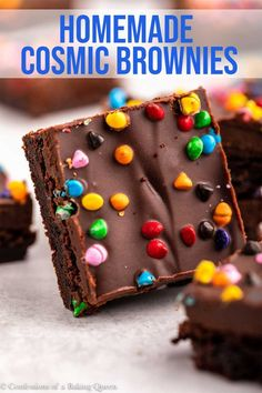 These homemade cosmic brownies are absolutely delicious. A quick brownie recipe is topped with a luscious chocolate ganache and tons of rainbow chips! Step-by-step photos help you make this easy dessert recipe. Quick Easy Desserts, Great Desserts, Party Desserts, Delicious Desserts, Dessert Recipes, Baking Desserts, Dessert Ideas, Baking Recipes, Hot Fudge Cake
