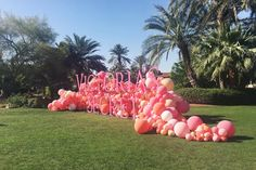 At the Victoria& Secret Angel Escape, held at a massive private estate in Indio, an enormous balloon installation from Geronimo Balloons proved to be an eye-catching centerpiece and popular photo backdrop in front of the property& lake. Balloon Installation, Balloon Backdrop, Balloon Centerpieces, Balloon Wall, Balloon Garland, Balloon Decorations, Parties Decorations, Balloon Ideas, Shower Centerpieces