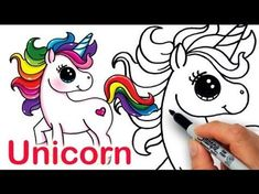 How to Draw a Unicorn Easy Step by Step - Cartoon Unicorn Drawing and Amazing Color Learning Drawing Cartoon Characters, Character Drawing, Cartoon Drawings, Animal Drawings, Kawaii Drawings, Doodle Drawings, Disney Drawings, Easy Drawings, Unicorn Emoji