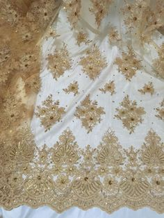 "GOLD CORDED EMBROIDERY SEQUINS RHINESTONE MESH LACE FABRIC 50"" WiIDE 1 YARD…"