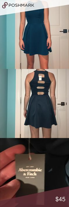NWT A&F Skater Dress Beautiful dark green-blue dress from A&F. Very stretchy fabric so it helps compliment multiple body types. Cute cutout back as well! Offers always welcome! No trades Abercrombie & Fitch Dresses