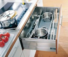 Pan Set - - Blum pan dividers provide safe storage for pots and pans plus utensils – a pan drawer divider set keeps everything in one place.