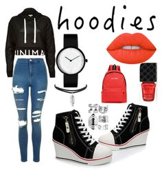 """""""Hoodies"""" by esturau on Polyvore featuring moda, River Island, Topshop, Lime Crime, Gucci y Boohoo"""