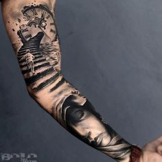 Stairs, Clock & Portrait Sleeve | Best tattoo ideas & designs Arm Tattoos For Guys Forearm, Forearm Sleeve, Tattoo Forearm, Time Tattoos, New Tattoos, Watch Tattoos, Cool Tattoos, Full Sleeve Tattoos, Clock Tattoo Sleeve