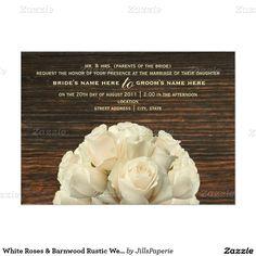 "White Roses & Barnwood Rustic Wedding Invitation 5"" X 7"" Invitation Card"