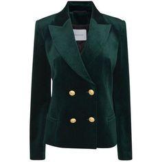 Pierre Balmain Velvet Blazer ($955) ❤ liked on Polyvore featuring outerwear, jackets, blazers, balmain, green, formal blazers, shoulder pad blazer, velvet blazer, pierre balmain and green velvet jacket