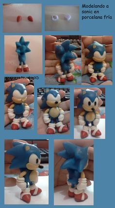 Sonic the Hedgehog polymer clay Bolo Fondant, Fondant Cake Toppers, Fondant Cakes, Cupcake Cakes, Sonic Birthday Cake, Sonic Birthday Parties, Sonic Party, Bolo Sonic, Sonic Cake