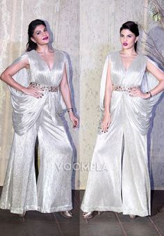 Fashionista Jacqueline Fernandez makes a style statement in a shimmery jumpsuit. Click Here >> Voompla.com