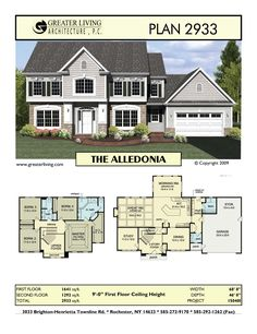 Greater Living Architecture in Rochester, NY provides premier home plans for any stage of life from Starter to Luxury to Empty Nester homes. House Plans 2 Story, Dream House Plans, House Floor Plans, My Dream Home, Sims Building, Building A House, House Blueprints, Dream House Exterior, House Layouts