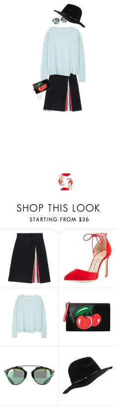 """""""Untitled #882"""" by victoria-victrairo ❤ liked on Polyvore featuring Mary Katrantzou, Manolo Blahnik, J Brand, RED Valentino, BCBGeneration, BCBGMAXAZRIA, women's clothing, women, female and woman"""
