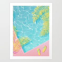 Tropical pool chill Art Print by martaolgaklara - Tropical poolside poster Marta Olga Klara pool water reflection and palm leaves illustration - Pool Drawing, Tropical Pool, Illustration Art Drawing, Summer Wallpaper, Mid Century Modern Art, Leaf Art, Sketchbook Inspiration, Screen Printing, Art Prints