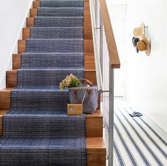 Dash and Albert stair runner Staircase Runner, House Staircase, Staircase Remodel, Staircase Ideas, Grand Staircase, Modern Staircase, Hallway Carpet Runners, Carpet Stairs, Stair Runners