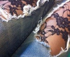 Revamp old jeans by adding lace! #DIY