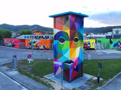 Okuda San Miguel (previously here and here) recently visited the Italian town of Arcugnano with his assistant Antonyo Marest to paint five different murals on the walls of the town's kindergarten. The five murals contain birds, bears, and a winged lion—each radiating a spectrum of colors th