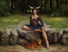 Zodiac ~ Taurus - taurus, animal, fantasy, creature, woman, zodiac, girl, green, ox, bull, horns