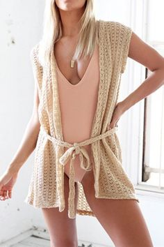 Stylish Hollow Out Belt Decoration Cardigan