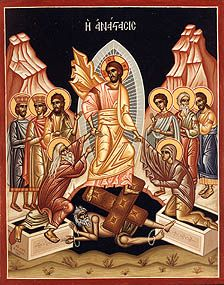 """An Orthodox icon of the Resurrection. Christ is in the center. He is pulling Adam and Eve from the grave showing that he is saving mankind from Hell. He is physically standing on the """"gates of hell"""" showing how he overcame the gates of hell and death.      Christ is Risen from the dead! Trampling down death by death and upon the tombs bestowing life!"""