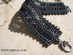 Patterns.Herringbone (Ndebele) Bracelet with bugle beads.Beading Schema.Master class