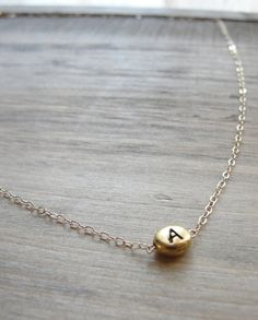 Gold Initial Bead Necklace - MInimalist style - Bridesmaid Gift Idea!