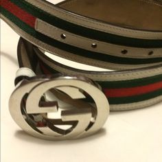 GUCCI BELT On hold White red green Gucci belt Authentic Gucci Accessories Belts