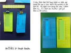 Color-coded classroom organization for departmentalized teams - Students write # and teacher initial on pages (1N, 1C, 1M)