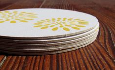 zinnia letterpress coasters