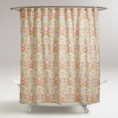 Our Exclusive Shower Curtain In A Delicate Floral Medallion Design Brightens Up Your Bathroom For Look Thats Bit Feminine And Very Chic