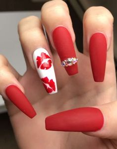 Top 50 Red and white nail design for beautiful girls