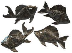 Follow us to http://freecycleusa.com Handmande Haitian Metal Art 4 Swimming Fish Set