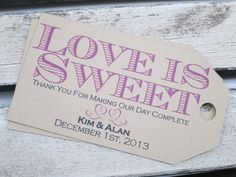 Wedding Favor Tags - Love is Sweet - Gift Tag - Save the Date - Custoizable - Personalized Tag on Etsy, $0.38 AUD